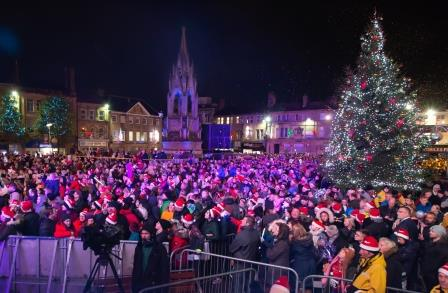 The crowd at the Christmas lights switch on in Mansfield Market Place