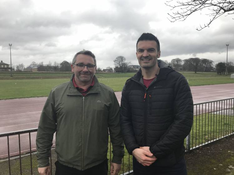 Photo of Councillor Andy Burgin at Berry Hill Park with Daniel Bonser, the organiser of Mansfield Junior Parkrun.