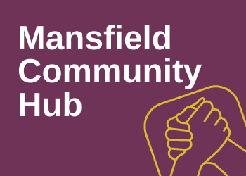 Mansfield community hub with grasped hands to symbolise community