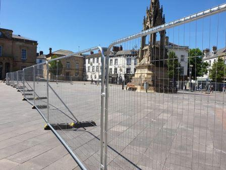 Mansfield Market Place with fencing